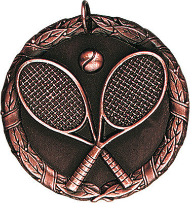 "Tennis XR Medal, 2"" in bronze"
