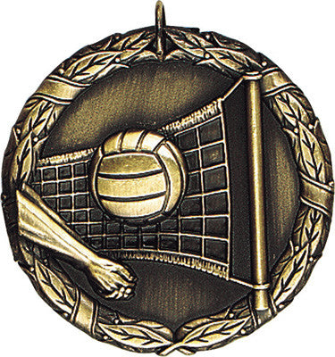 "Volleyball XR Medal, 2"" in gold"
