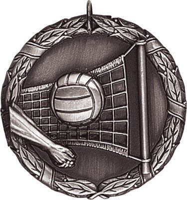 "Volleyball XR Medal, 2"" in silver"
