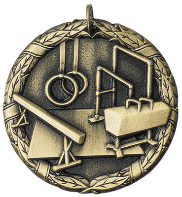 "Gymnastics XR Medal, 2"" in gold"