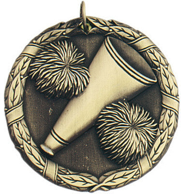 "Cheerleading XR Medal, 2"" in gold"