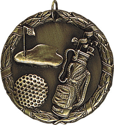 "Golf XR Medal, 2"" in gold"