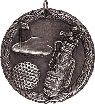 "Golf XR Medal, 2"" in silver"