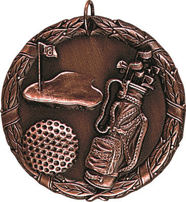 "Golf XR Medal, 2"" in bronze"