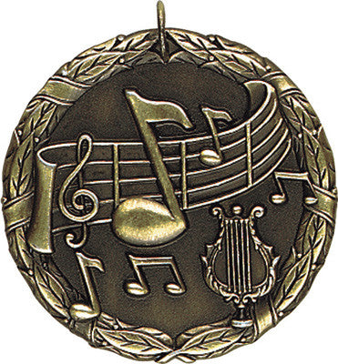 "Music XR Medal, 2"" in gold"