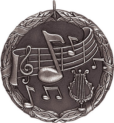 "Music XR Medal, 2"" in silver"