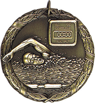 "Swimming XR Medal, 2"" in gold"
