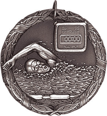 "Swimming XR Medal, 2"" in silver"