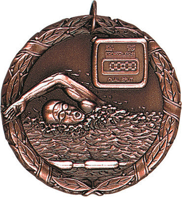 "Swimming XR Medal, 2"" in bronze"