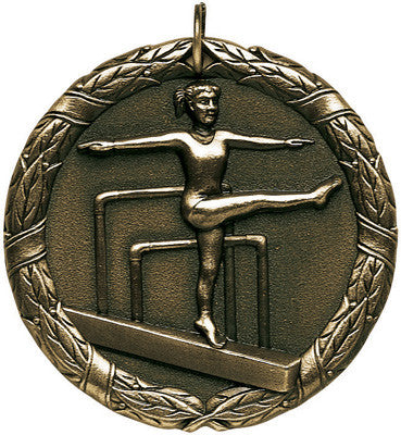 "Gymnastics, Female, XR Medal, 2"" in gold"