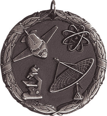 "Science XR Medal, 2"" in silver"
