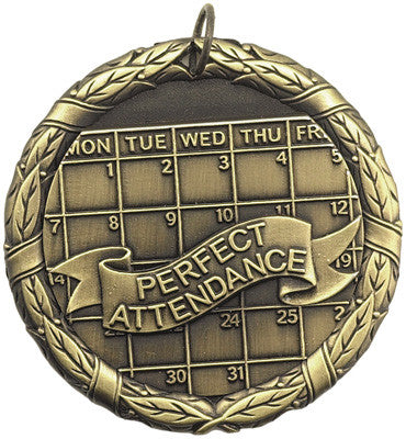 "Perfect Attendance XR Medal, 2"" in gold"