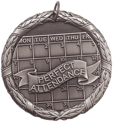 "Perfect Attendance XR Medal, 2"" in silver"