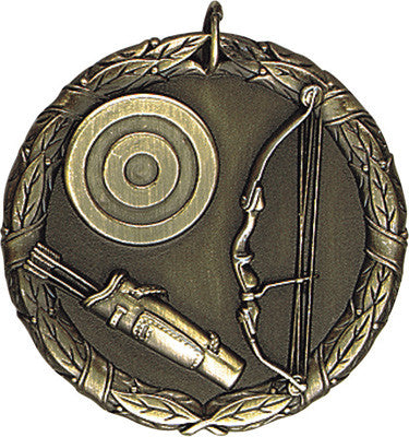 "Archery XR Medal, 2"" in gold"