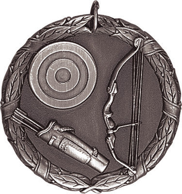 "Archery XR Medal, 2"" in silver"