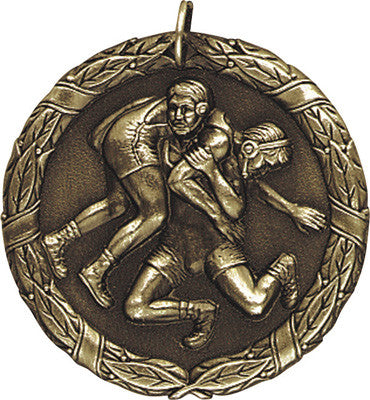 "Wrestling XR Medal, 2"" in gold"