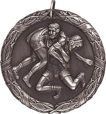 "Wrestling XR Medal, 2"" in silver"