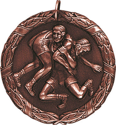 "Wrestling XR Medal, 2"" in bronze"