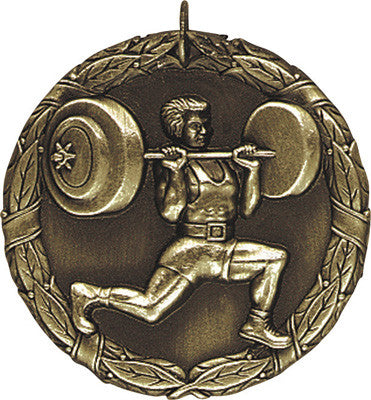 "Weightlifter XR Medal, 2"" in gold"