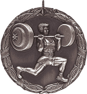 "Weightlifter XR Medal, 2"" in silver"