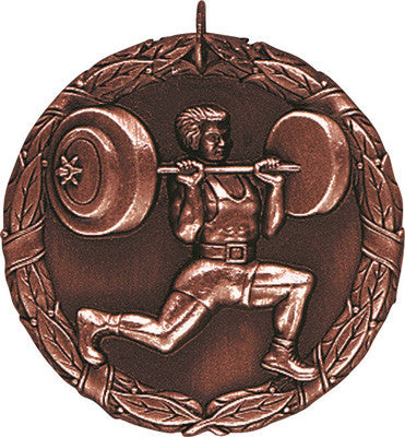 "Weightlifter XR Medal, 2"" in bronze"