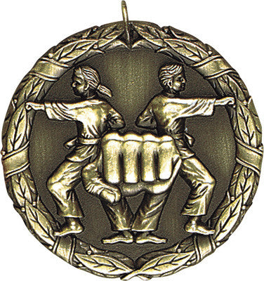 "Karate XR Medal, 2"" in gold"