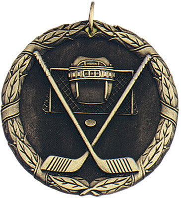 "Hockey XR Medal, 2"" in gold"