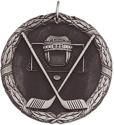 "Hockey XR Medal, 2"" in silver"