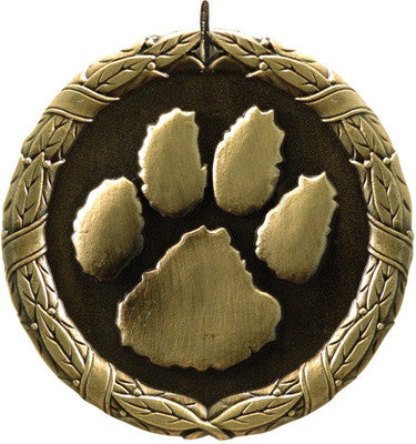 "Paw Print XR Medal, 2"" in gold"