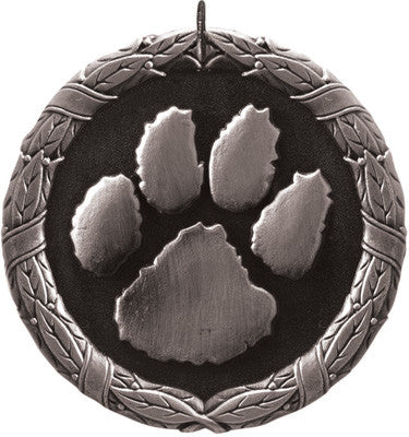 "Paw Print XR Medal, 2"" in silver"