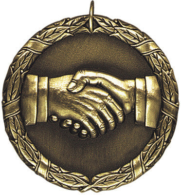 "Hand Shake XR Medal, 2"" in gold"