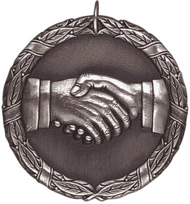 "Hand Shake XR Medal, 2"" in silver"