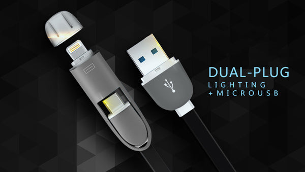 2-in-1 Micro USB / Lightning to USB-A Flat Cables