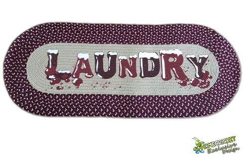©Homecricket - Burgundy Vintage Laundry Room Decorative Braided Area Runner - Rug - Floor Mat - (Laundry Room Decor- Laundry Room Ideas Designs)