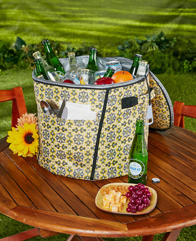 Easy Access Backyard Yellow Insulated Cooler with Bottle Opener