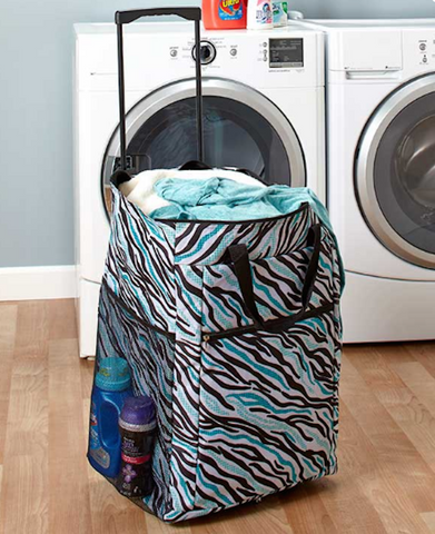 Blue Zebra Print Load Hamper Rolling Transport Laundry Bag on wheels