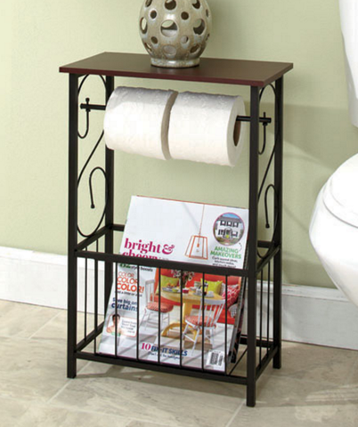 Decorative Bathroom Toilet Paper Storage Table Restroom with Metal Frame Magazine Rack