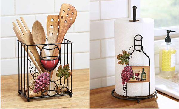 Kitchen Organization Wine Themed Paper Towel And Utensil