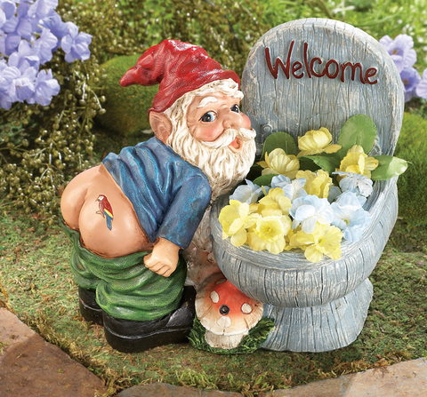 Hilarious Farting Noise Motion Sensor Playful Gnome Toilet-Shaped Planter