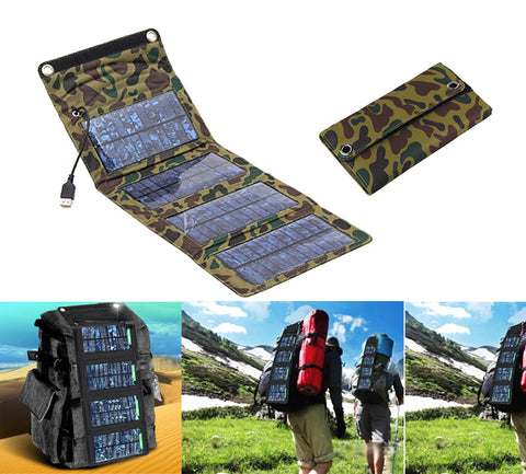 5V 7W Portable Folding Solar Panel Power Source Mobile USB Charger for Cell phones GPS Digital Camera PDA