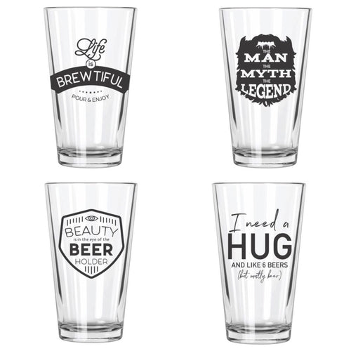Beer Brain Pint Glasses Set