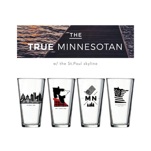 True Minnesotan Pint Glass Set (w/ St. Paul Skyline) | Minnesota Mall
