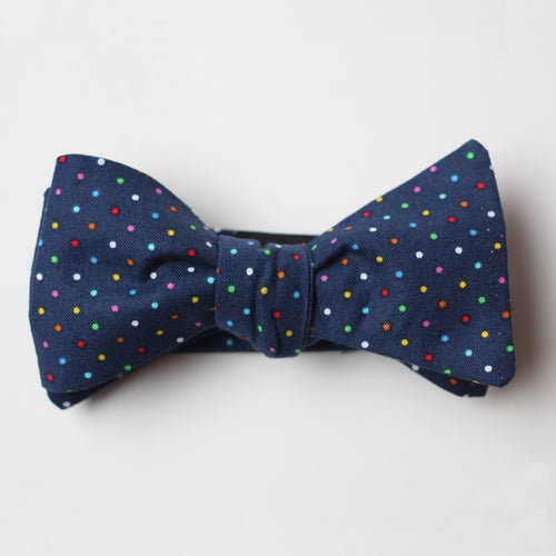 Navy Rainbow Pin Dot Bowtie