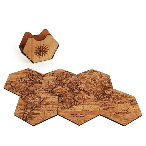 World Map Wood Coaster Set