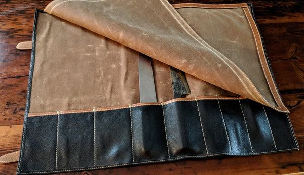 On A Roll: The Knife Roll in waxed canvas and leather