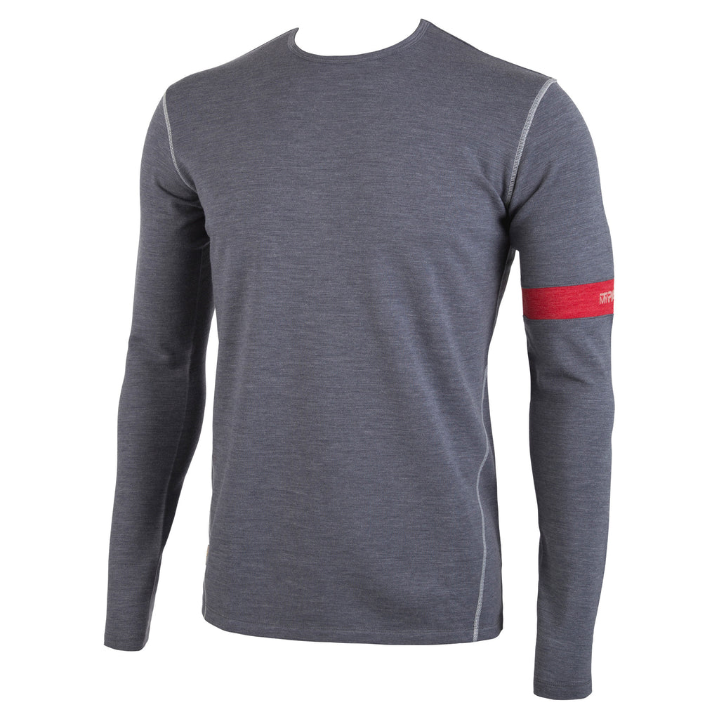 Premium Merino Wool: Charcoal Heather Long Sleeve First Layer Top