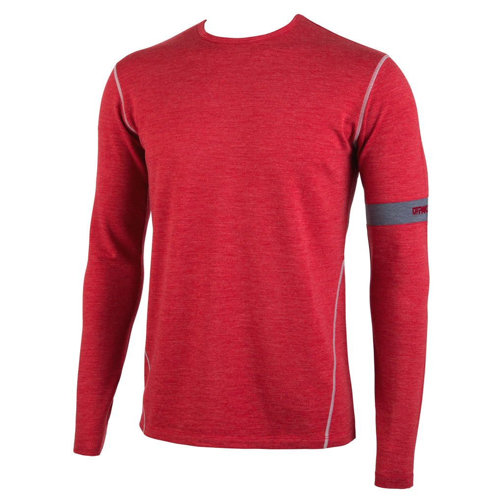 Premium Merino Wool: Crimson Heather Long Sleeve First Layer Top