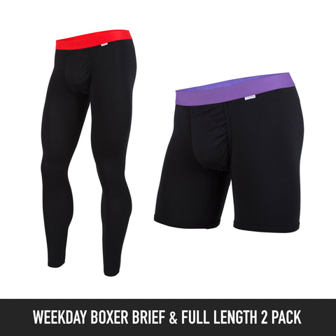 Weekday Boxer Brief & Full Length: Solid Colour 2-Pack