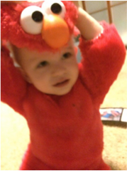 Halloween Kit in an Elmo Costume