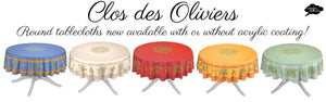 The round Clos des Oliviers round tablecloths are now in stock without the acrylic coating!